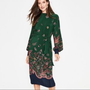 Nwt new Boden Bonnie silk midi dress green 4